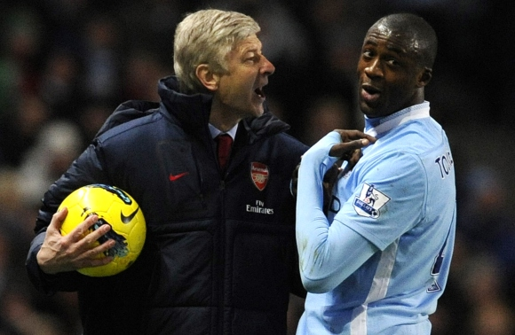 "Arsene'as Wengeras ir ""Manchester City"" saugas Yaya Toure."