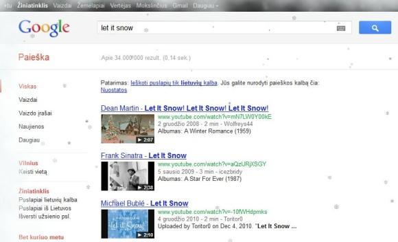 """""""Google"""" paieškos svetainę papuošė snaigės ir šerkšnas."""