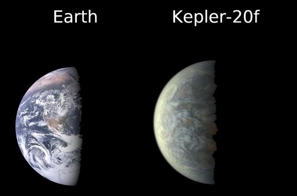 """Žemė (k.) ir jos """"dvynė"""" planeta """"Kepler 20-f"""""""