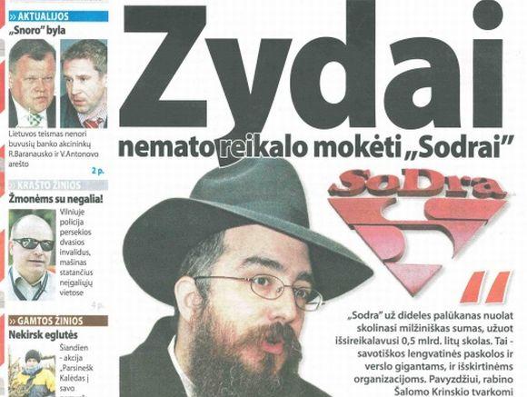 Laikraščio straipsnis papiktino žydų bendruomenę.