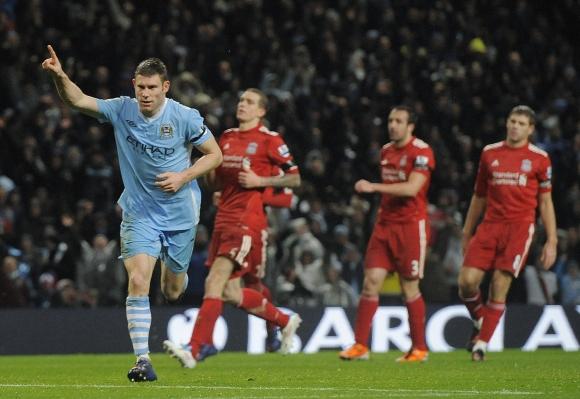 """Jameso Milnerio džiaugsmas po trečiojo įvarčio į """"Liverpool"""" vartus."""