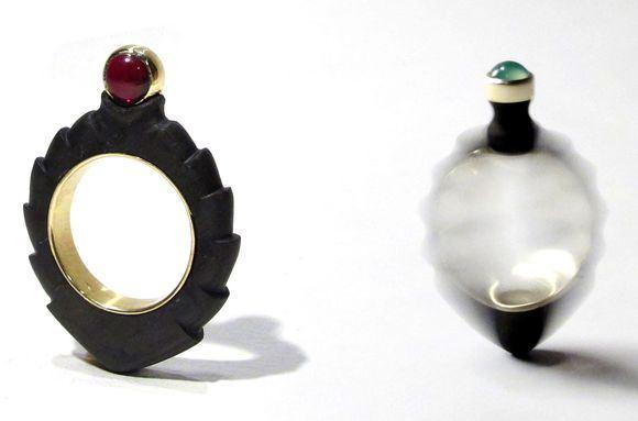 "(AV17) galerijos nuotr./Juvelyrės Annikos Kedelauk kūrinys ""Spinning Top Ring"""