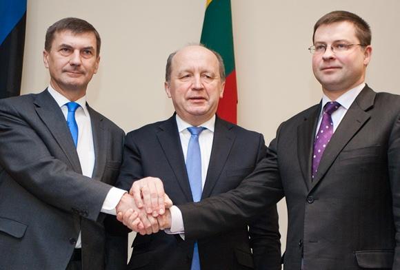 Andrus Ansipas, Andrius Kubilius ir Valdis Dombrovskis