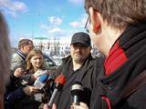 T.Umaro/BFL nuotr./A.Džikičius bendrauja su žurnalistais