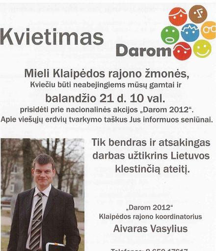 Skrajutė/Klaipėdos rajone talkininkams buvo dalinamos tokios skrajutės.