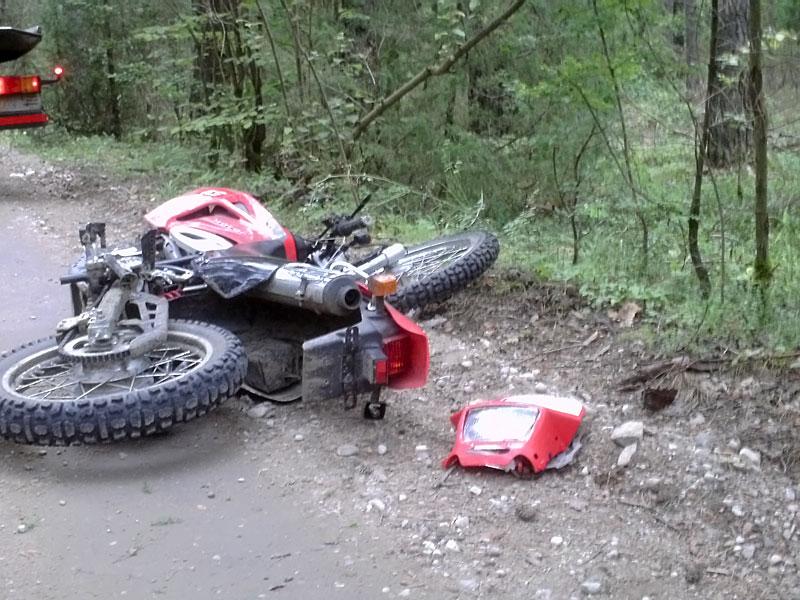 Motociklas įvykio vietoje