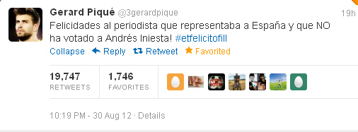 Gerardo Pique žinutė Twitter