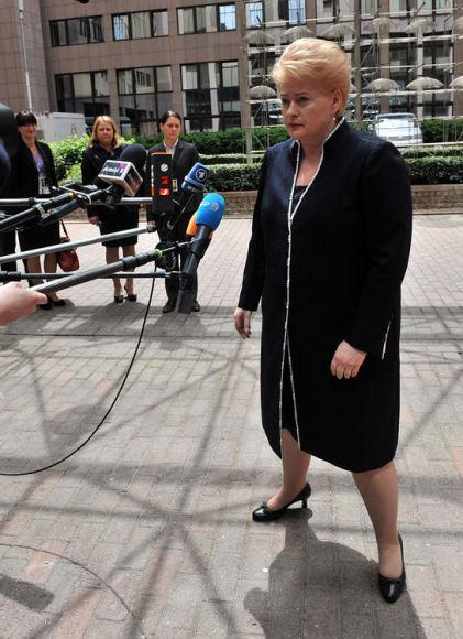 """AFP/""""Scanpix"""" nuotr./Kai prezidentė Dalia Grybauskaitė kalba tai, kuo tiki, ji stovi tvirtai įsispyrusi į žemę."""