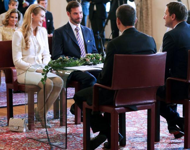Scanpix nuotr./Princo Guillaume'o ir grafaitės Stephanie de Lannoy civilinė tuoktuvių ceremonija