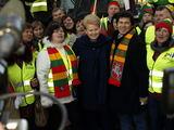 Dalios Plikūnės nuotr. /Dalia Grybauskaitė Baltijos šalių ūkininkų proteste Briuselyje