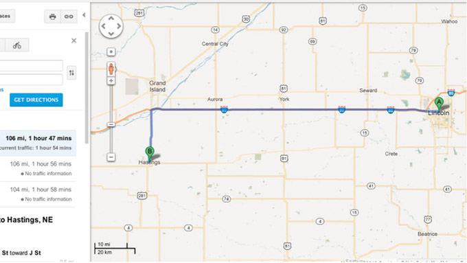 Google Maps nuotr./Greitkelis ia Linkolno į Nebraską