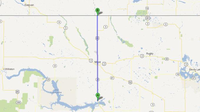 Google Maps nuotr./Greitkelis ia `iaurės Dakotos į Kanadą