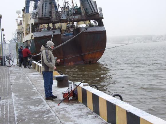 Kruizinių laivų terminalas uostamiestyje, kol nėra ledo, jau ne pirmą sezoną tampa stintų meškeriojimo vieta