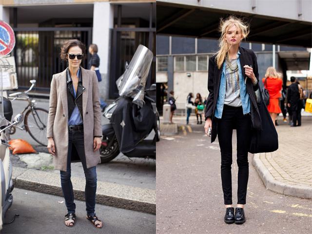 Pinterest nuotr./Kairėje: gatvės stilius. Deainėje: mėlyna, juoda, smėlio spalvos  saugiausias variantas.