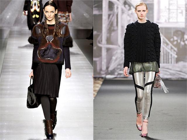 Mados namų nuotr./Megztinio rankovės trumpos arba megztinis nedengiantis palaidinės kraatų. Esmė detalėse. Ia kairės: Fendi, Just Cavalli žiemos 2012-2013 kolekcijos.
