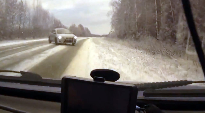 Pavojinga situacija Rusijos užmiesčio kelyje