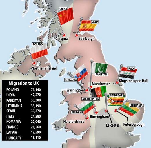 Dailymail.co.uk nuotr./Didžiosios Britanijos imigrantų žemėlapis