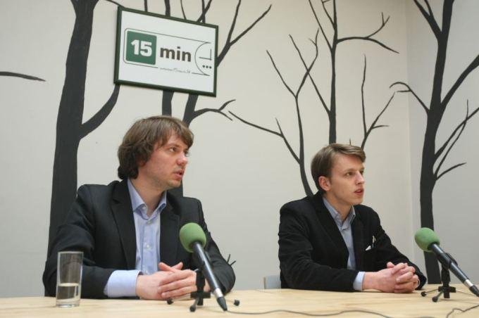 Creators of Lituanica SAT-1 Vytenis Buzas (left) and Laurynas Mačiulis