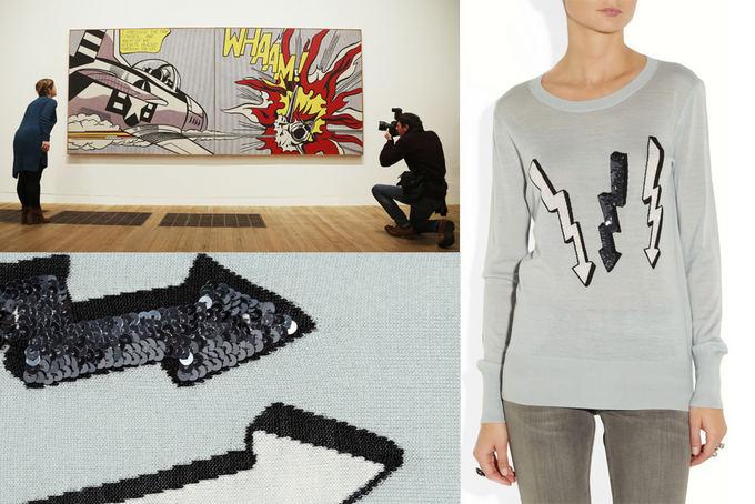 Scanpix ir net-a-porter.com nuotr. / Kairėje virauje: menininko R. Lichtenstein retrospektyvinės parodos atidarymas Tate muziejuje Londone aių metų vasarį; nuotraukoje darbas ,,Whaam! (1963 m.). Deainėje: Marcus Lupfer vilnos megztinis, margintas žaibais ir blizgančiais karoliukais (fragmentas apačioje kairėje).