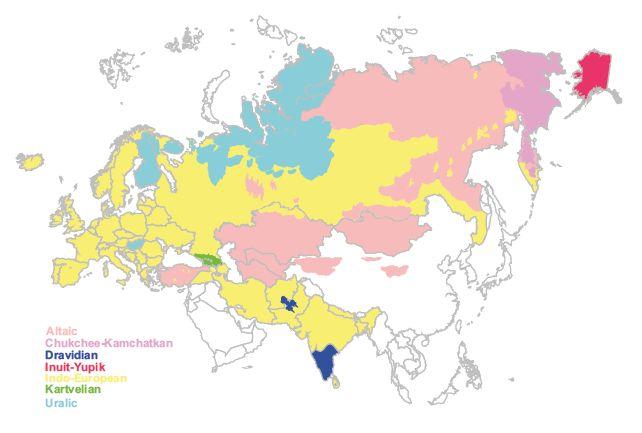 Eurazijos žemėlapis, kuriame skitingomis spalvomis pavaizduotos dabartinių kalbų šeimos