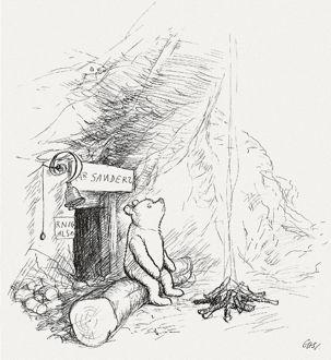 1926 metais sukurta Mikės Pūkuotuko knygos iliustracija
