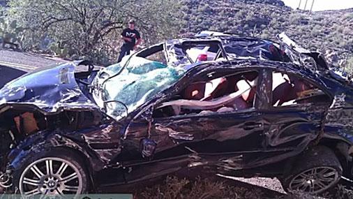 Водитель заснял полет своего BMW с обрыва