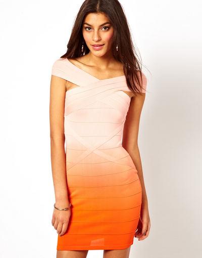 asos.com. / Lipsy suknelė su išplautos oranžinės spalvos efektu ir originaliomis, plačiomis petnešomis.
