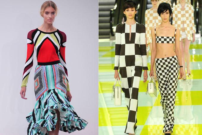Scanpix nuotr. / Ia kairės: Peter Pilotto kolekcijos modelis Londono mados savaitėje. Deainėje: JAV dizainerio Marc Jacobs kolekcija Luis Vuitton mados namams. Paryžiaus mados savaitė.
