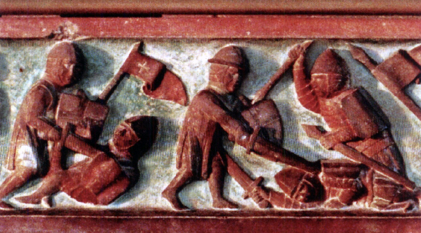 XIV a. reljefas - lietuviai kalavijais kaunasi su kryžiuočiais
