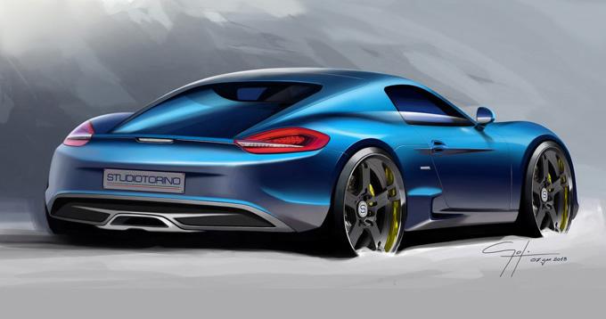 "Patobulinto ""Porsche Cayman S"" eskizas"