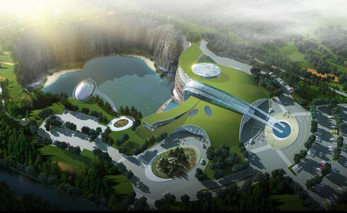 Openbuildings.com nuotr./Apleistą uolienos karjerą kinai pavers futuristiniu penkių žvaigždučių vieabučiu Shimao Shanghai Wonderland