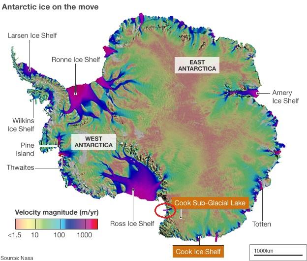 Žemėlapis, kuriame pavaizduotas Antarktidos ledynų judėjimo greitis. Raudonai pažymėtas išsiliejęs poledyninis Kuko ežeras