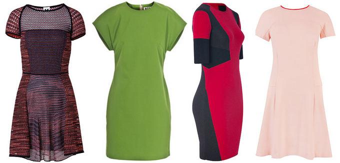 Ia kairės: megzta Missoni suknelė ia stylebop.com, ryakiai žalia ACNE suknelė ia jades24.com, vilnonė sportinė Belstaff suknelė ia stylebop.com ir į apačią platėjanti rausva Ted Baker suknelė ia johnlewis.com.
