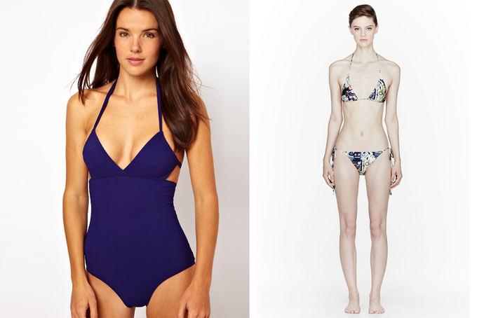 Ia kairės: ASOS maudymosi kostiumėlis su iakirpte (asos.com nuotr.) ir We Are Handsome suriaamas dviejų dalių kostiumas ia ssense.com.