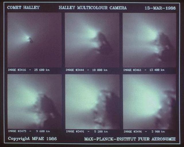 """MPAE/H.U. Keller. nuotr./Iš """"Giotto"""" zondo 1986 metais padarytos Halio kometos branduolio nuotraukos"""
