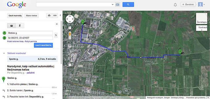 Interneto nuotr./Žemėlapis, kuriame pažymėtas artimiausias kelias nuo ugniagesių komandos (A) iki gaisro vietos (B)