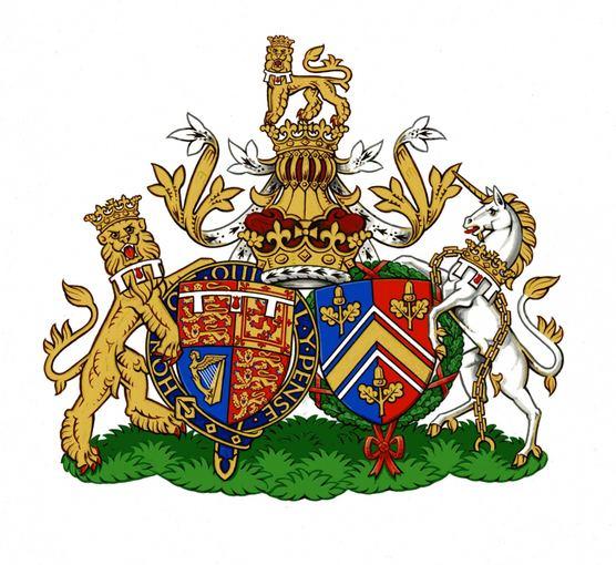 Princo Williamo ir Kembridžo hercogienės Catherine šeimą simbolizuojantis herbas