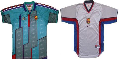 """sport.es nuotr./Kairėje – """"Barcelona"""" 1995 m., dešinėje – 2001 m. apranga"""