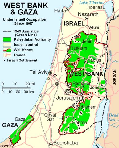 Wikimedia Commons žemėlapis/Izraelis ir Palestinos teritorijos