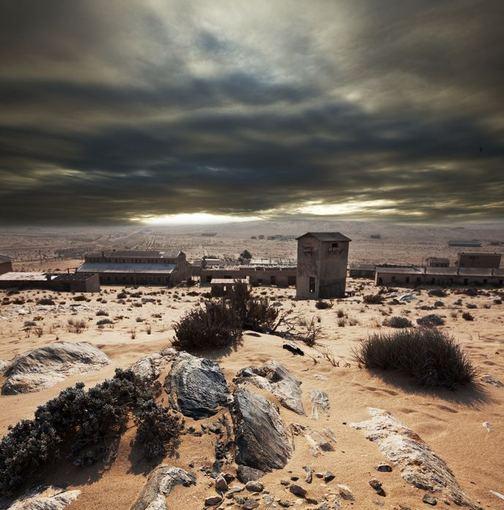 123rf.com nuotr./Apleistas miestas Namibijos dykumoje