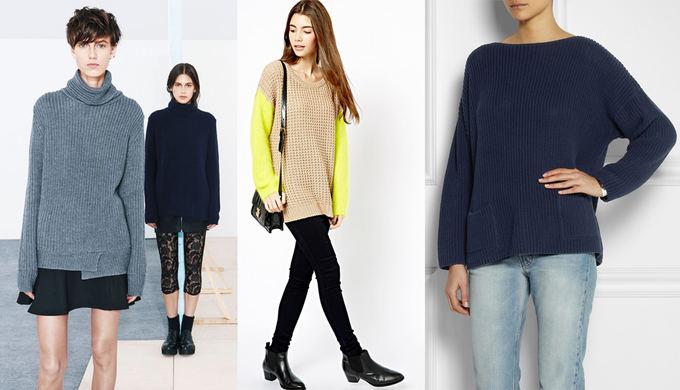 Iš kairės: Zara rudens katalogas iš zara.com. RRP megztinis geltonomis rankovėmis iš asos.com; Chinti and Parker tamsiai mėlynas megztinis iš net-a-porter.com.