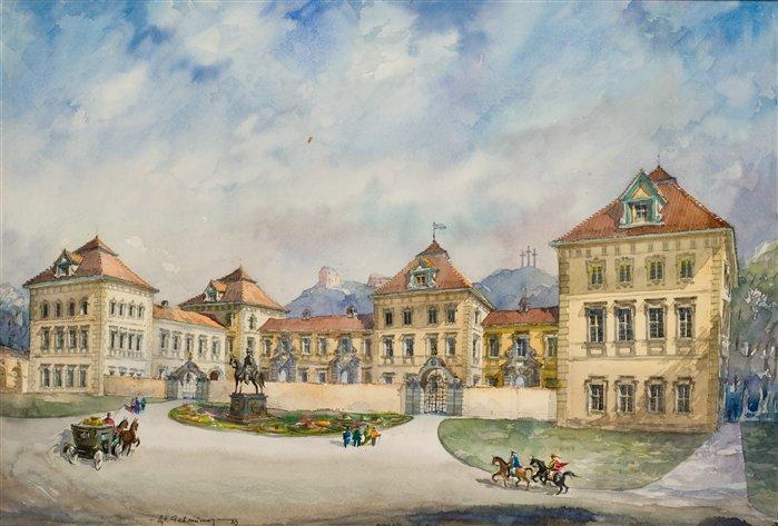 Taip XVII a. Vilniuje turėjo atrodyti Radvilų rūmai. Dailininkas V.Gabriūnas