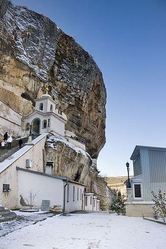wikimedia.org nuotr./Vienuolynas iškaltas uolose Bakčisarajuje