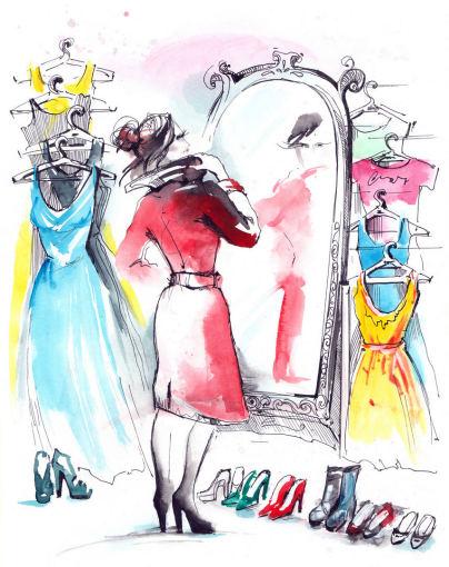 Fotolia nuotr./Moteris matuojasi drabužius