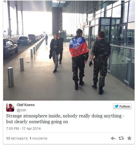 """""""Twitter"""" iliustr./Separatistai Donecko oro uoste"""