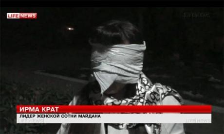 """Kadras iš filmuotos medžiagos/Slovjanske pagrobta """"Maidano"""" protestuotoja"""