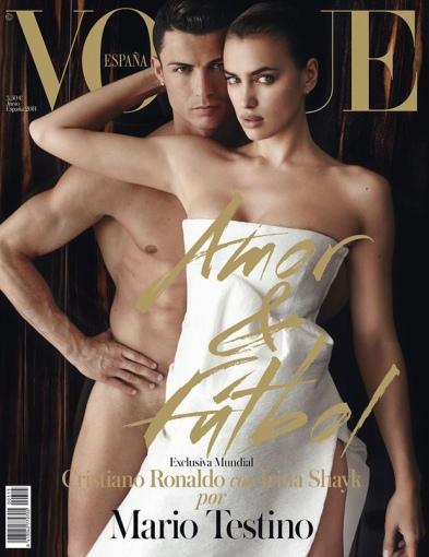 """""""Vogue"""" viršelis/Mario Testino nuotr./Cristiano Ronaldo ir Irina Shayk"""