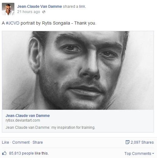 Facebook.com nuotr./Jeanas Claude'as Van Damme'as pasidalino Ryčio Songailos piešiniu