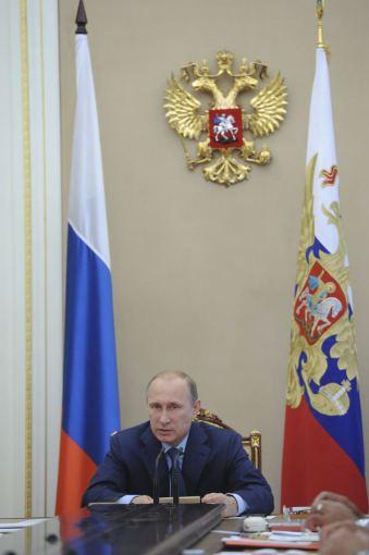 """""""Reuters""""/""""Scanpix"""" nuotr./Vladimiras Putinas Rusijos Saugumo Taryboje"""