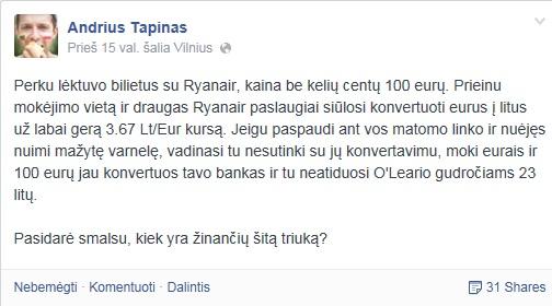"""Andriaus Tapino eksperimentas """"Ryanair"""" puslapyje"""